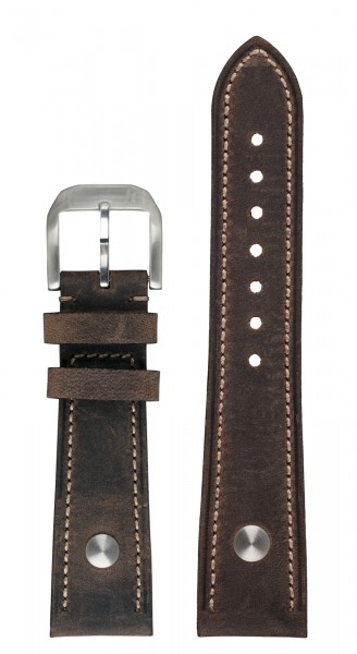 PIONEER MonoControl, TwinControl Calf leather strap dark-brown (21 mm)