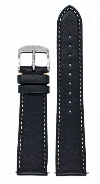 PIONEER 417 ES Kalbslederarmband schwarz ohne Nieten (20 und 21 mm)