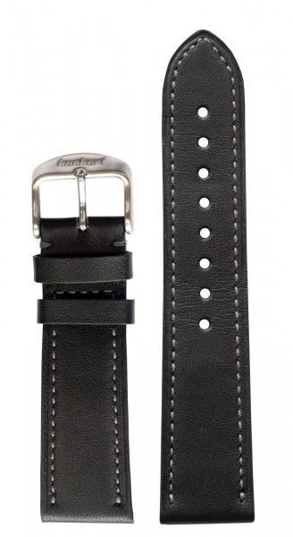 PIONEER One Calf leather strap black without rivets (22 mm)