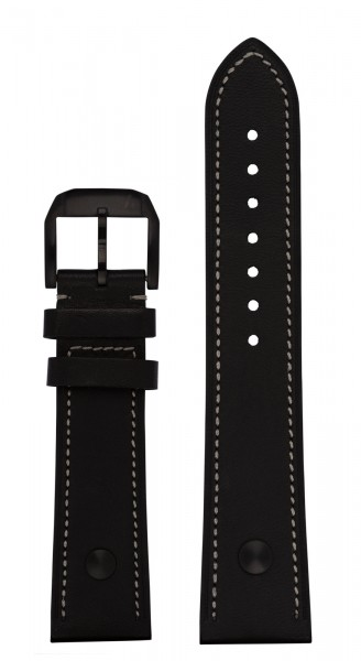 PIONEER Calf leather strap black with DLC-coated rivets (23 mm)